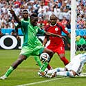 Nigeria's Omeruo clears the ball from Argentina's Lavezzi during their 2014 World Cup Group F soccer match at the Beira Rio stadium in Porto Alegre